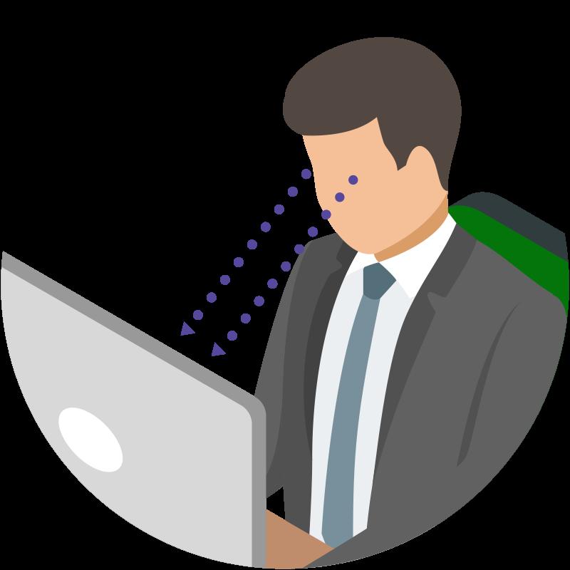 テレビやパソコンの画面は目線より下になるように配置