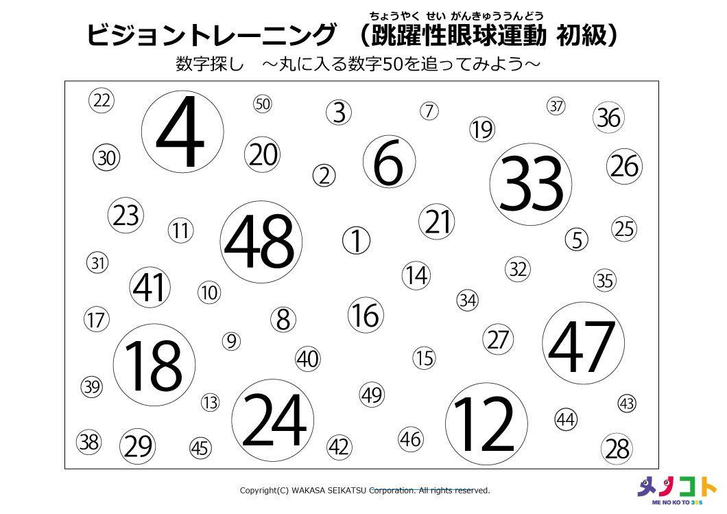 跳躍性眼球運動初級トレーニングシート(数字あり)