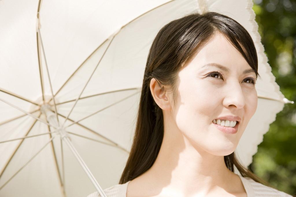 日傘をさす女性の写真