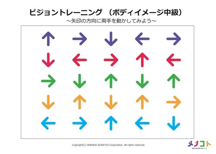 ビジョントレーニングワークシート矢印の方向に両手を動かす
