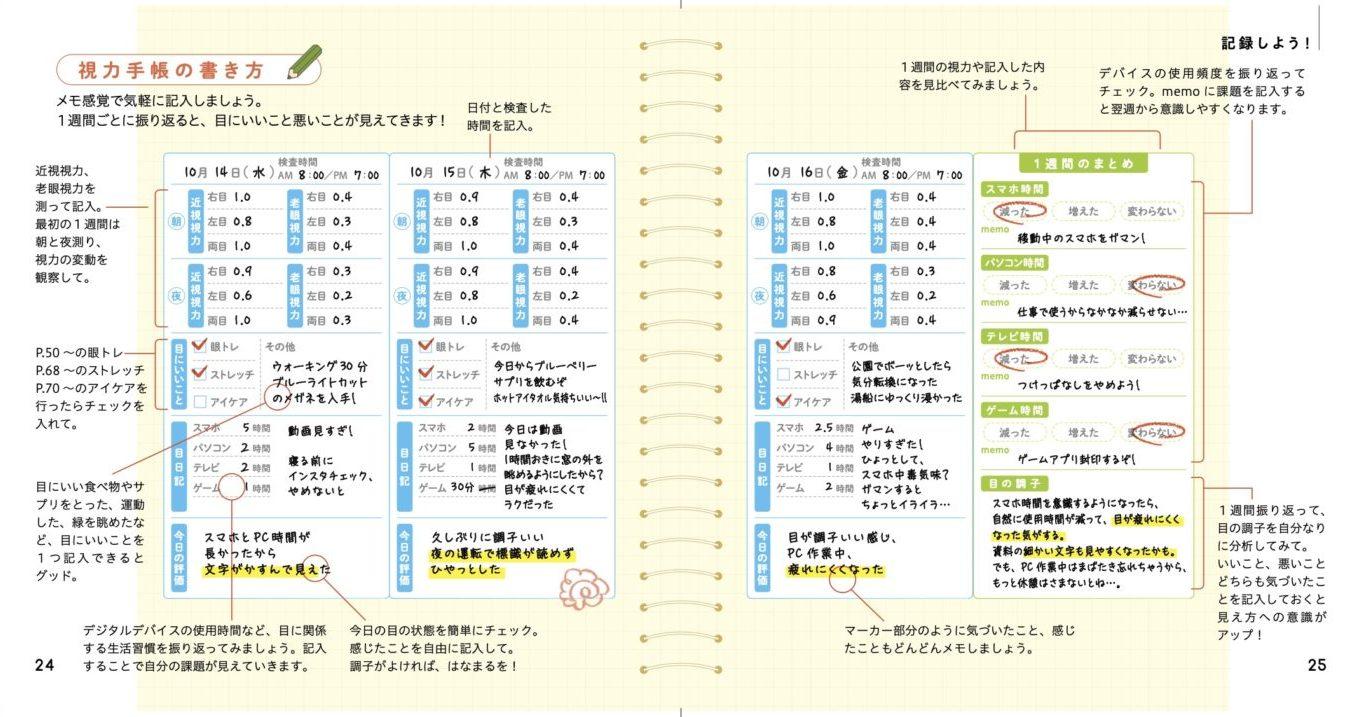 視力手帳の書き方ページ