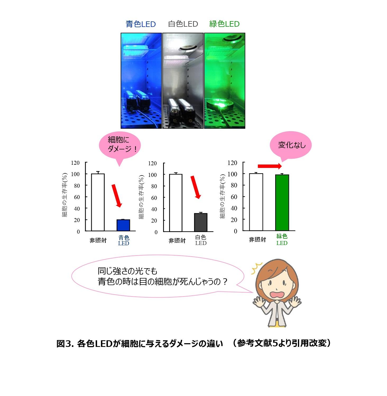 同じ光の強さでも、白色や緑色の光よりも青色の光の方が目の細胞にダメージを与えることを表したグラフ