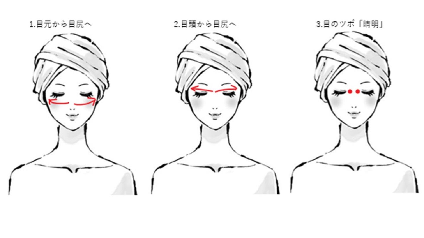 目もとのマッサージを示した女性のイラスト