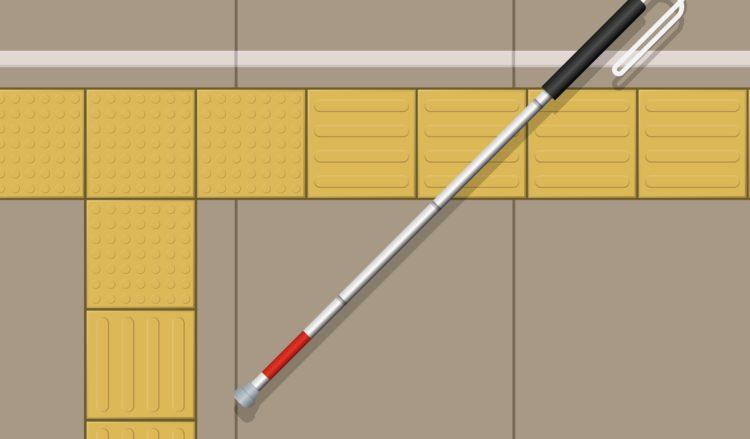 視覚しょう害者に役立つ2種類の点字ブロックと白杖