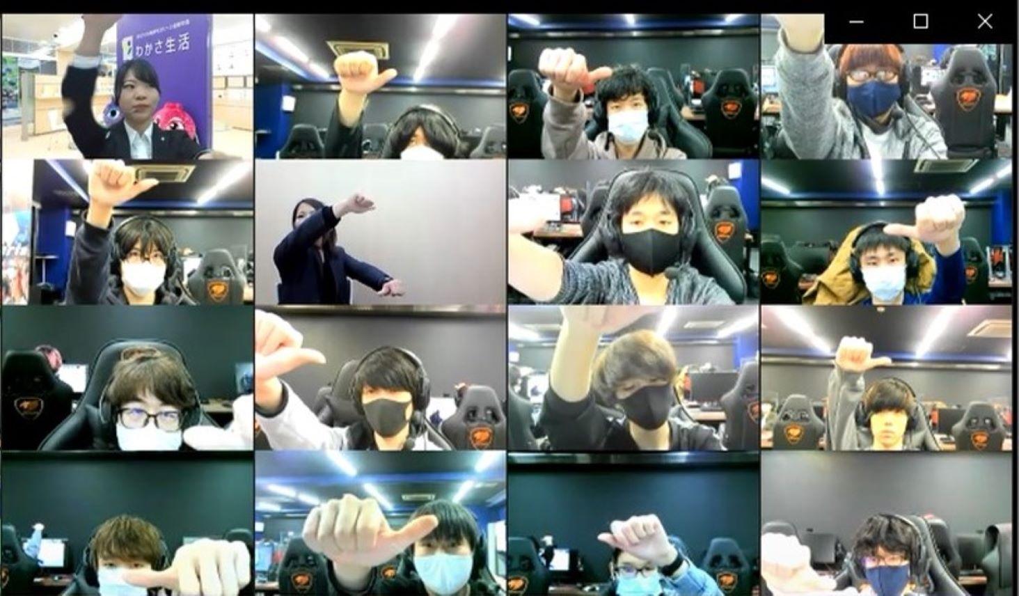 eスポーツと目の健康に関するわかさ生活のオンライン講義に参加し、ビジョントレーニングを行う名古屋デザイン&テクノロジー専門学校の学生たち