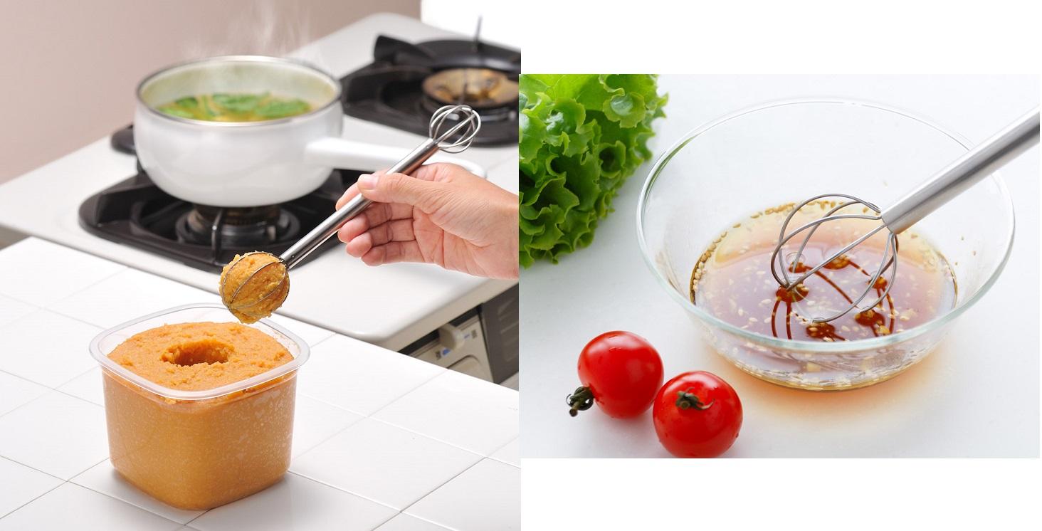 味噌の計量やドレッシングを混ぜるのも可能なマドラー